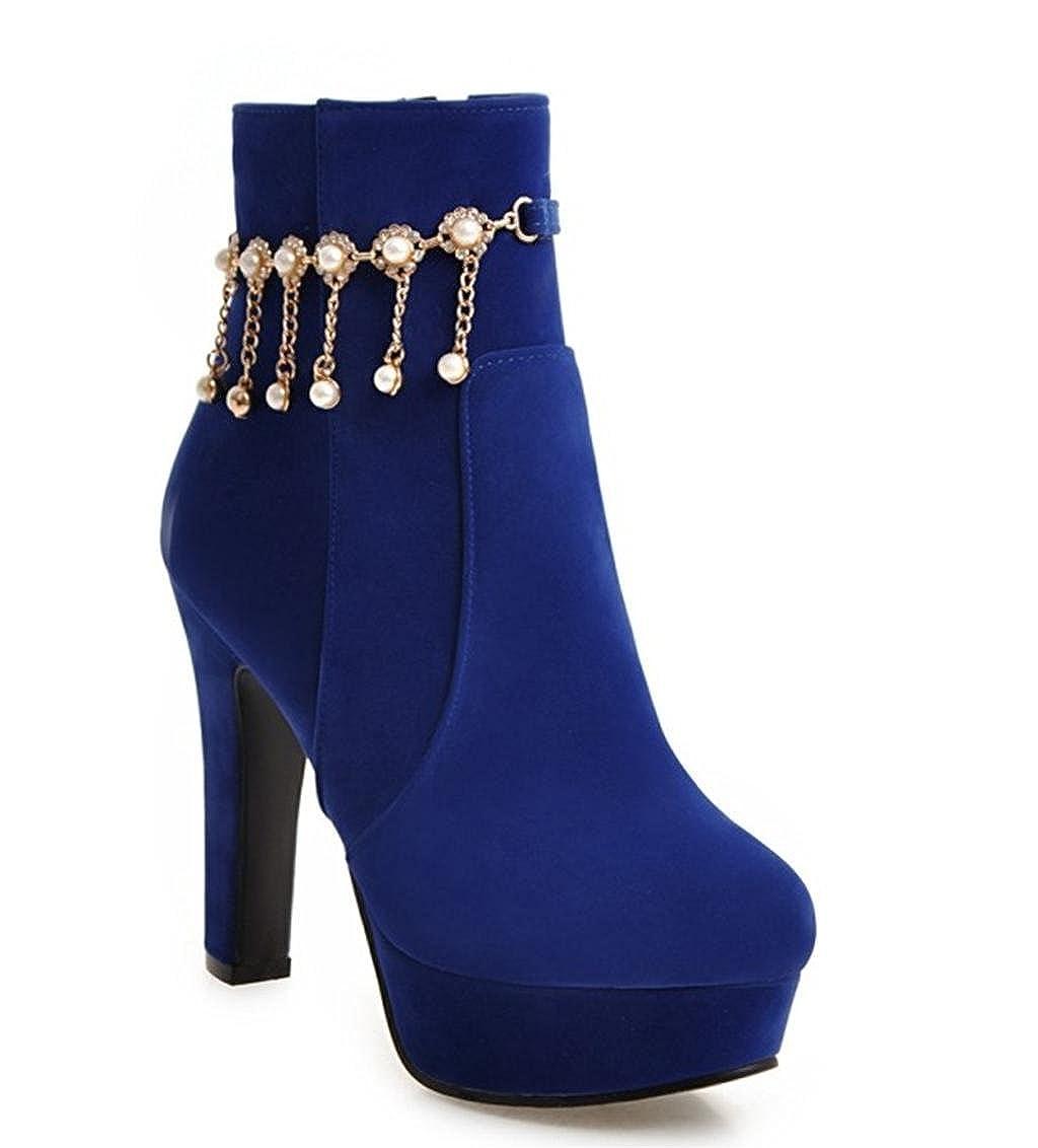 MNII Frauen Stiefel Knöchelriemen Plattform Pumpe Stiletto Mode Martin Strass Perle Heel Party Kleid Stiefel Schuhe- Modeschuhe