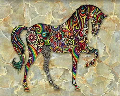 3d Wallpaper Aesthetic Colorful Horse Marble Tv Background