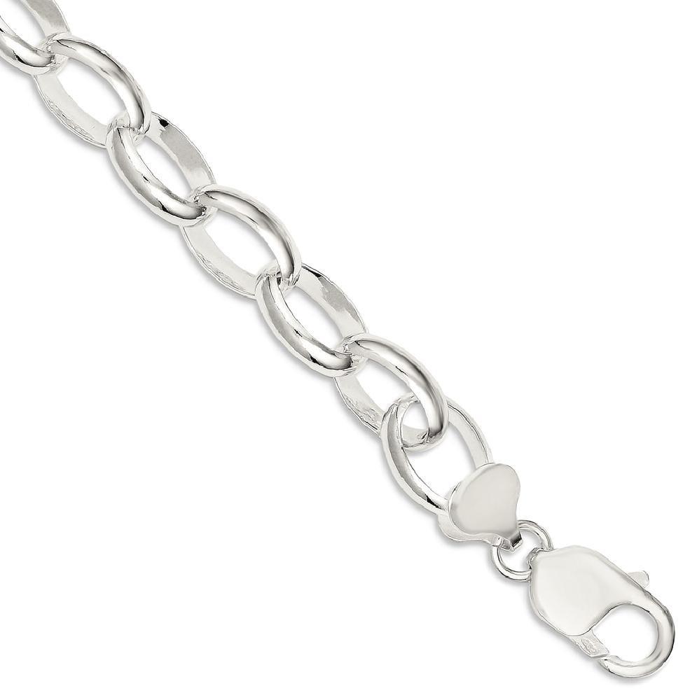 ICE CARATS 925 Sterling Silver Rolo Bracelet 7.50 Inch Chain Fancy Charm Fine Jewelry Gift Set For Women Heart