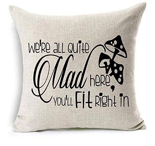 Mad Linen - Brecoy We're all quite mad here you'll fit right in Mad hatter wild mushrooms Cotton Linen Throw Pillow covers Case Cushion Cover Sofa Decorative Square 18 x 18 inch (1)