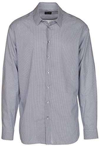 [Giorgio Armani Men's Blue Chain Link Cotton Dress Shirt, Blue, 18 1/2] (Italy Cotton Dress)