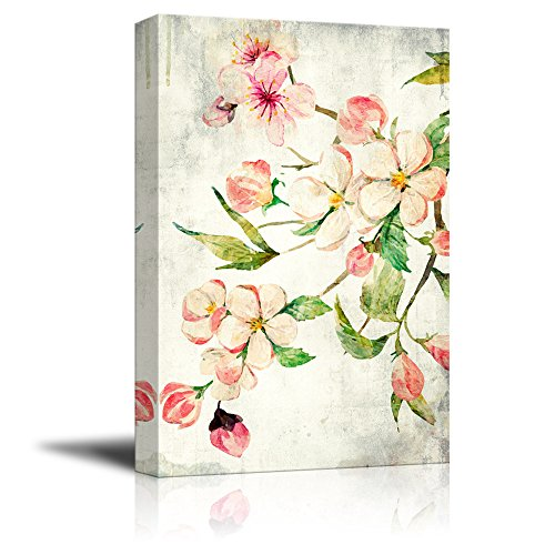 Watercolor Painting Style Pink Cherry Blossom on Branch