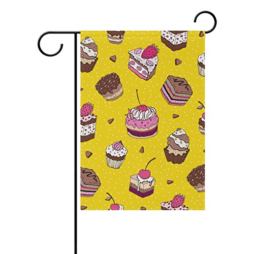 ALAZA U LIFE Cute Birthday Cake Dessert Yellow Polka Dots Garden Yard Flag Banner for Outside House Flower Pot Double Side Print 12 x 18 Inch