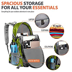OutdoorMaster Hiking Backpack 50L - Hiking & Travel Backpack w/ Waterproof Rain Cover & Laptop Compartment - for Hiking, Traveling & Camping (Green/Grey)