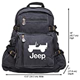 Grab A Smile JEEP CJ Heavyweight Canvas Backpack Bag, Black & White (Large)