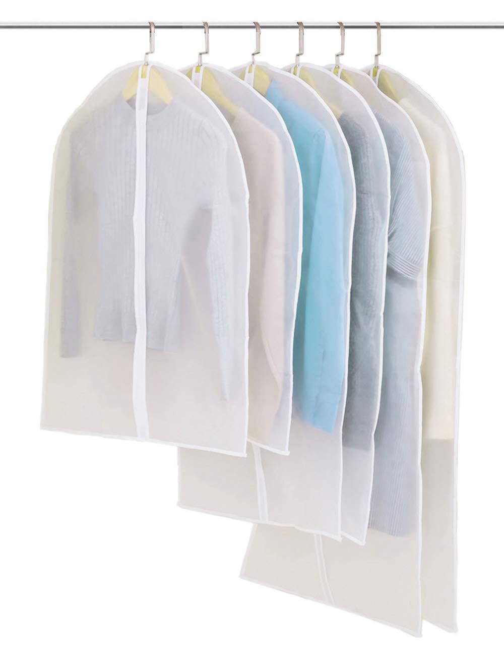 Savant Decor PEVA Garment Bags Suit Cover Pack of 6 Moth Proof with Full Zipper for Storage Closet and Travel, Suit Carriers, Dresses, Fur coats (32''x 2PCS, 40''x2PCS, 47''x2PCS)