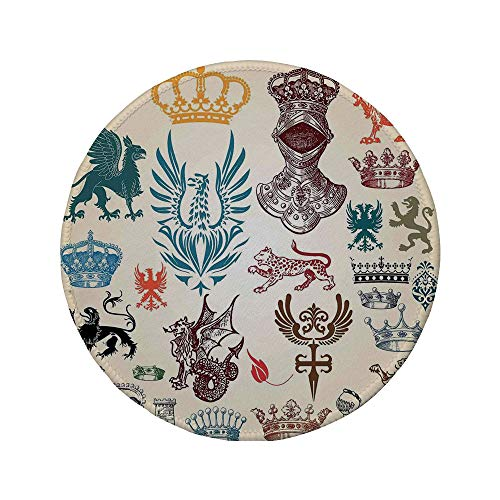 Non-Slip Rubber Round Mouse Pad,Medieval Decor,Collection of Medieval Renaissance Icons in Retro Style Baroque Classical Elements Art Print,Multi,7.87