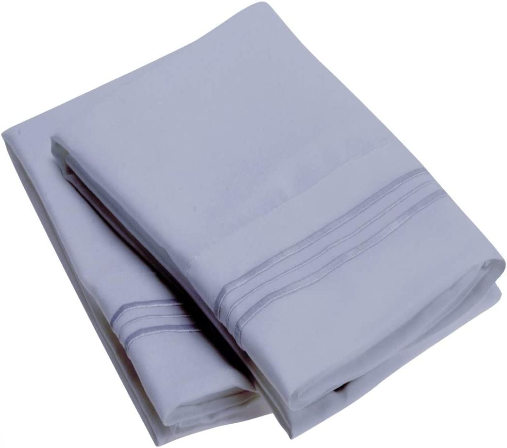 Mellanni Luxury Pillowcase Set - Brushed Microfiber 1800 Bedding - Wrinkle, Fade, Stain Resistant - Hypoallergenic (Set of 2 Standard Size, Blue Hydrangea)