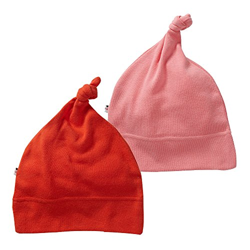 Babysoy Eco Knot Beanie Hat Pack of 2 (6-12 Months, Tomato + Rose)