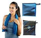 Microfiber Beach Towel Best for Travel, Sports, Camping, Yoga, Fitness, Gym | Antibacterial, Quick Dry, Super Absorbent, Light | Includes FREE Bag | Get Toweled NOW! SMALL (20 x 40 in.) - Navy Blue