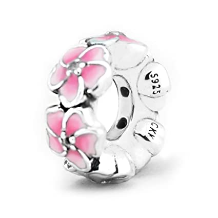ade27abb1c5 ... official store ckk charm pink flower string spacers charm s925 sterling  silver bead fit pandora bracelet