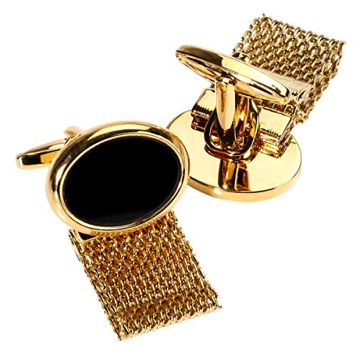 Gold-plated black onyx bullet with gold Chain cufflinks brass plated gold luxury classy style cufflinks