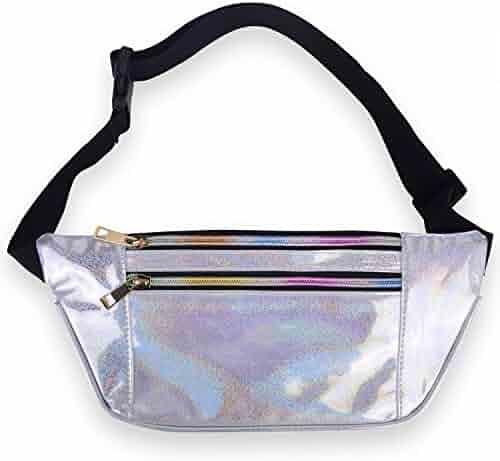 LEADO Holographic Fanny Pack Metallic 80s Neon Fanny Packs for Women and Men, Fashion Waist Pack Adjustable Running Belt Travel Money Belt, Cute Waist Bags Bum Bag for Rave, Festival, Hiking