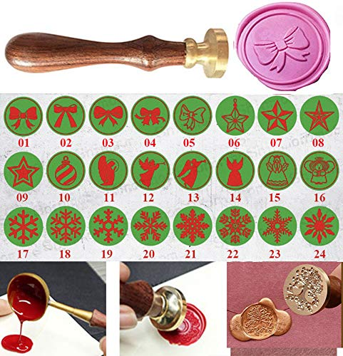 (MNYR 24 Styles Christmas Snowflake Decorative Wax Seal Sealing Stamp Curlicue Wedding Invitations Christmas Gift Cards Embellishment Cutomize Seal Stamp Rosewood Handle)