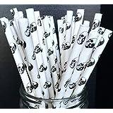 Charmed 50 pcs Black and white skull paper straws ( 2 pack of 25 )