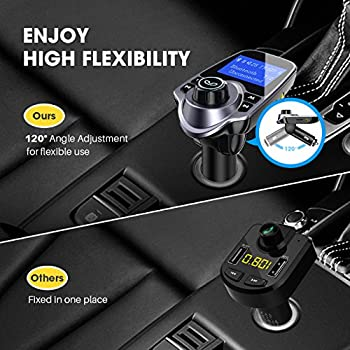 """Victsing Bluetooth Fm Transmitter For Car, Wireless Bluetooth Radio Transmitter Adapter With Hand-free Calling & 1.44"""" Lcd Display, Music Player Support Tf Card Usb Flash Drive Aux Inputoutput 1"""