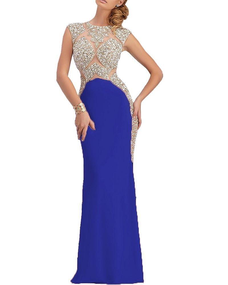 Royal bluee SDRESS Women's Rhinestones Cap Sleeve Scoop Neck Mermaid Prom Dress