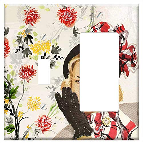 1-Toggle 1-Rocker/GFCI Combination Wall Plate Cover - Vintage Lady Girl Woman Fifties Hat Glove -