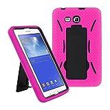 Galaxy Tab A 7.0 Case by KIQ (TM) Heavy Duty Hybrid Silicone Skin Hard Plastic Case Cove for Samsung Galaxy Tab A 7 T280 - Black / Hot Pink