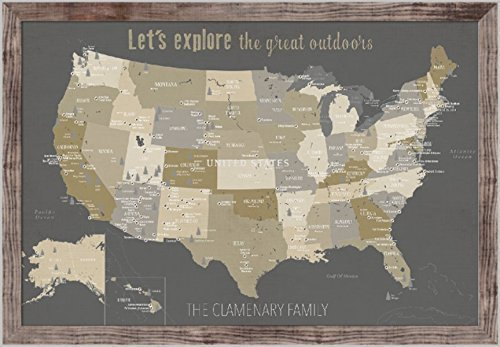 National Parks Map, Push Pin Print, 24X36 Inches, USA Parks,