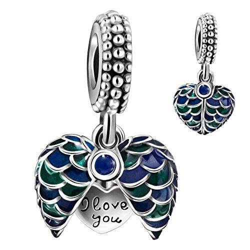 Enamel Sterling Silver Heart Beads - Angemiel 925 Sterling Silver Enamel Heart Dangle Charm Bead for European Snake Bracelets