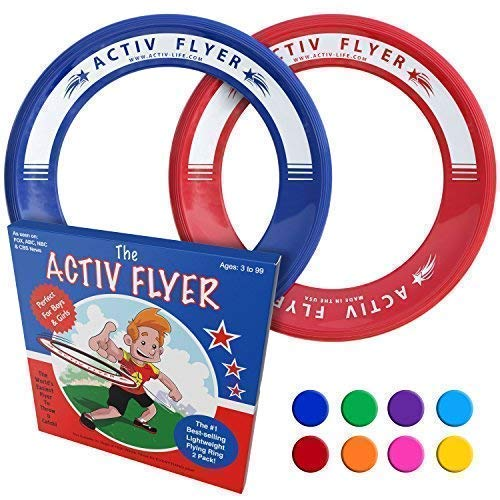 Activ Life Best Kid's Flying Rings [Red/Blue] Top Birthday Gifts Presents Xmas Stocking Stuffers - Cool Toys for Year Old Boys Girls and Fun Family Outdoor Games Love Hot Bday ()