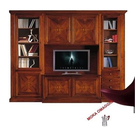 CLASSICO composizione parete attrezzata tinta noce mobile porta TV ...