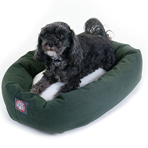 (24 inch Green & Sherpa Bagel Dog Bed By Majestic Pet Products)