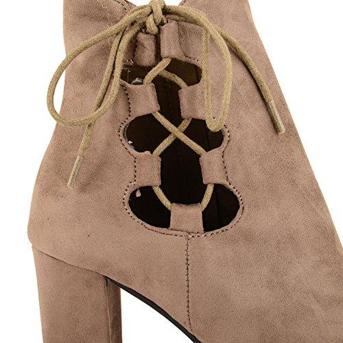 Sensation Botas Footwear mujer gris Suede para Marrón Taupe f6ddq