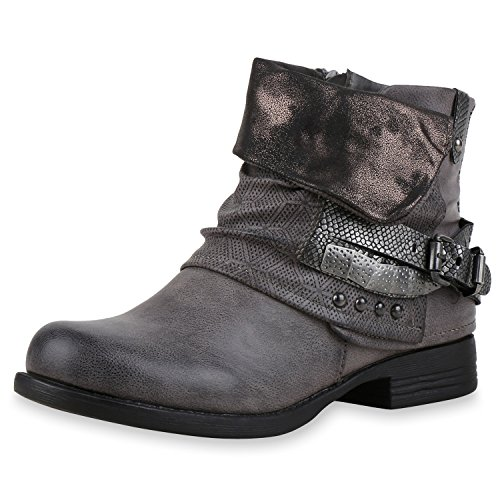 napoli-fashion - botas estilo motero Mujer gris oscuro