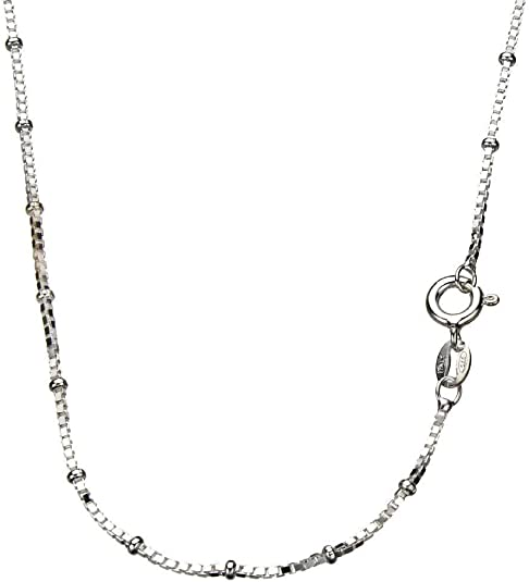 CloseoutWarehouse Rhodium Plated Sterling Silver Snake 4 Sided 025 Chain 0.8mm
