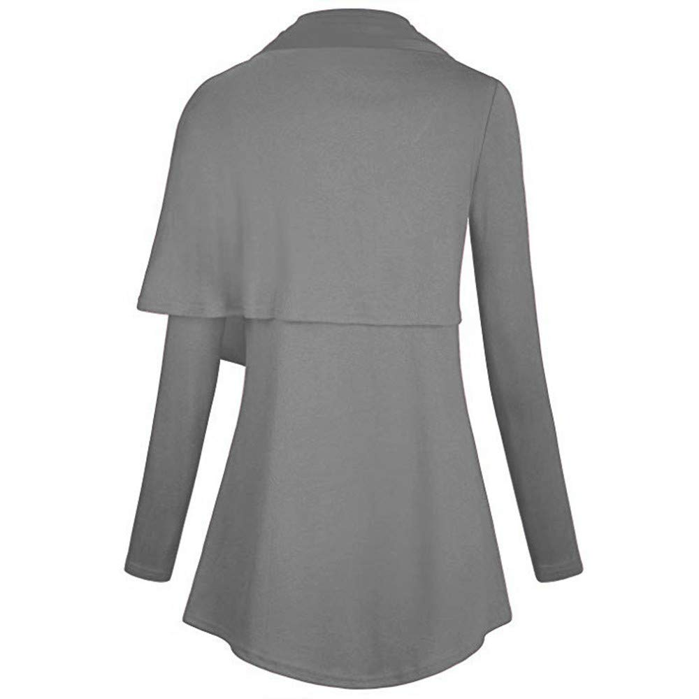 Rambling Women Long Sleeve Cowl Neck Asymmetric Casual Tunic Top with Pocket