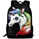 OIlXKV Colorful Cartoon Unicorn Print Custom Casual School Bag Backpack Multipurpose Travel Daypack For Adult