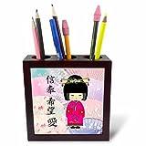 3dRose ph_20553_1 Geisha Faith Hope Love-Tile Pen Holder, 5-Inch