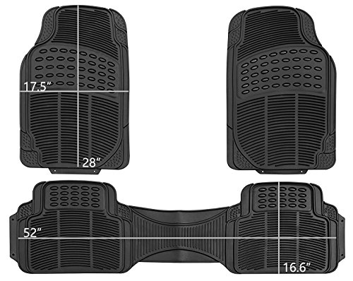 PIC AUTO Universal Rubber Floor Mats for Car, SUV, Van & Trucks (3-piece, - Mens Black Pics