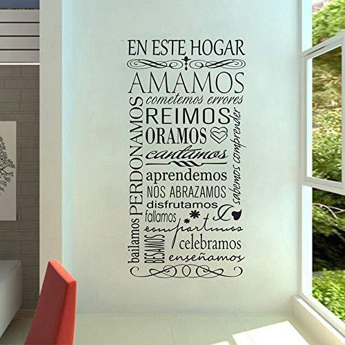Bidsu Vinyl Wall Statement Family DIY Decor Art Stickers Home Decor Wall Art Spanish Quote Wall Decal en este horga amamos reimos oramos Wall Sticker for Living Room bnursery Kids Bedroom -