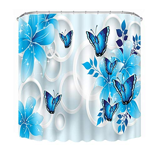 Malicosmile Blue Shower Curtains, Butterfly Shower Curtains for Bathroom, Girls Butterflies Shower Curtain Sets 72 x 72 Inch]()