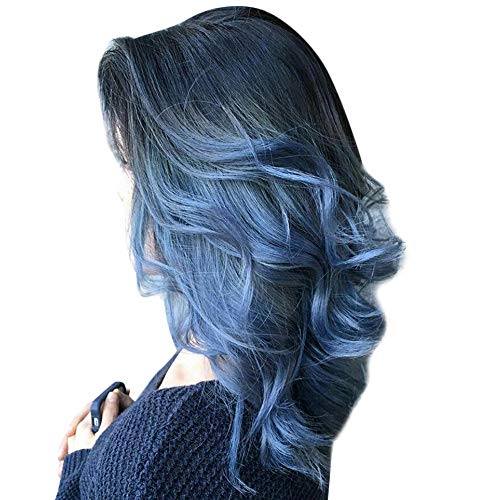 Inkach Clearance Curly Short Wig for Black Women Middle Part Ombre Full Wig Heat Resistant Synthetic Fiber Costume Party Female Hair Wig (Blue) ()