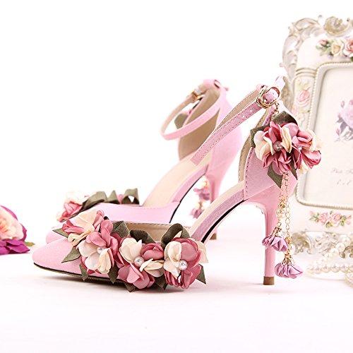 XIE Mujeres de la boda de zapatos / dama de honor y la novia / Flor de satén / tacón de aguja / punta dedo del pie / Sandalias de tacón alto / Anklet Pink