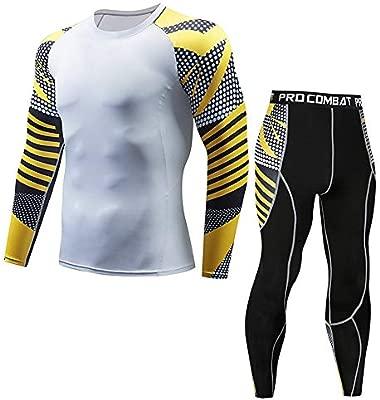 Hombres Conjuntos de compresión Casual Fitness T-Shirt Secado ...