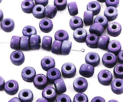 50pcs Matte Nebula Dark Blue Sapphire Matubo 2/0 Czech Glass Pony Roller Crow Ring Beads Large Hole Spacer 6mm ()
