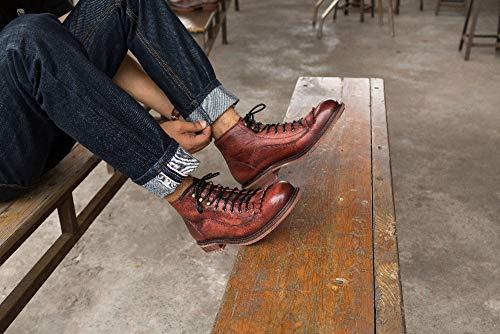 Yao EU stile Size pelle inverno Tacco lacci alto vera autunno Red 42 Stivaletti uomo con maschili nappa casual Color vintage in Moda per Red rqnRrBtF