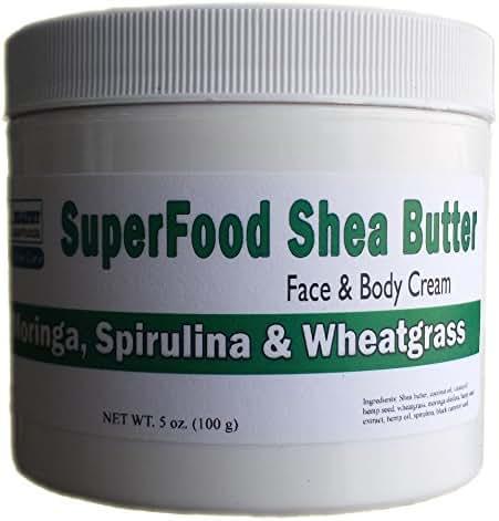 SuperFood Shea Butter with Moringa, Wheatgrass, Spirulina, Hemp & MoreFace & Body Cream, Anti-Aging Anti-Wrinkle