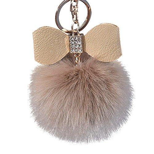 Diamond Ball Fox Bowknot Keychain Bag Plush Car Key Ring Pendant 10cm