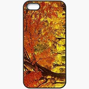 Unique Design Fashion Protective Back Cover For iPhone 5 5S Case Autumn Park 14813 Nature Black