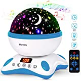 Moredig Baby Night Light Projector with Timer and Remote Built-in 12 Light Songs 360 Degree Rotating 8 Colorful Lights Romantic Night Lighting Lamp for Kids Birthday Christmas (Blue White)