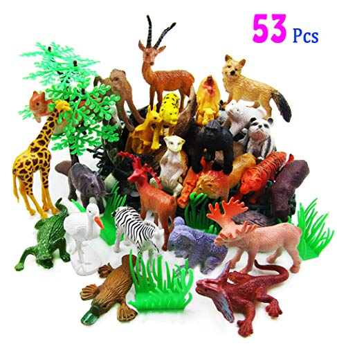 LUCCK Animals Figure Toy, 53 Pieces Party Mini Jungle Animals Toys Set, Assorted Realistic Wild Animal Model, Fun Learning Gift for Boy and Girl