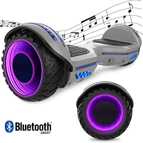 GeekMe Gyropode Hover Scooter Board Overboard 6.5 Pouces Gyropode Électrique Scooter Board Hover avec Bluetooth Intégré et Lampes LED Coloré Clignotantes aux Roues