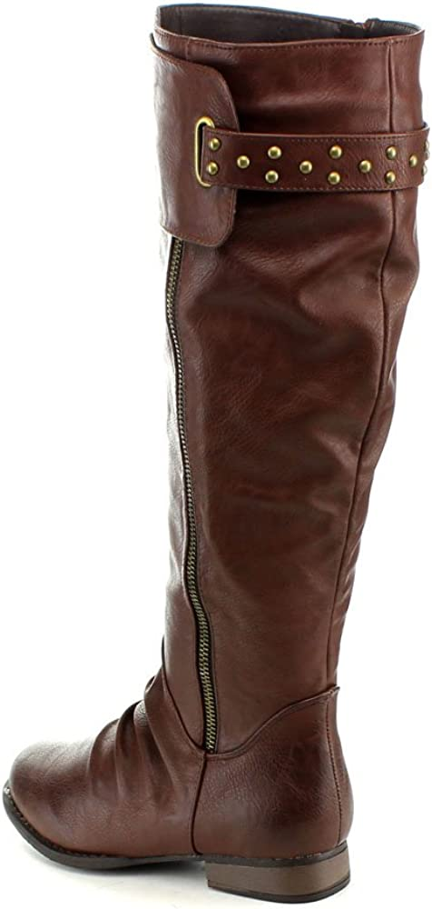 ANNA Womens Juno-8 Fashion Buckle Side Zip Stud Combat Riding Knee High Flat Boot