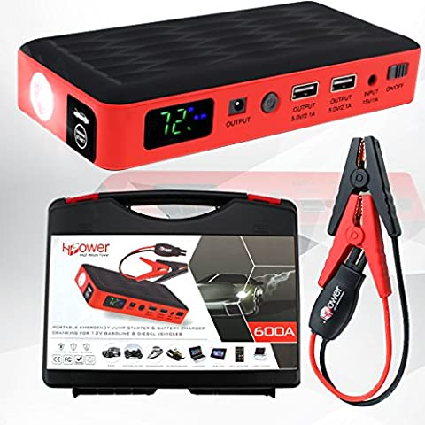 HALF Minute Power 600A Peak 35520mWh 12V Portable Car Battery Jump Starter Emergency Booster Charger and Auto Bank Power Pack with a Gift Ec-5 Cigarette Lighter Socket (Marine Battery Box Small)